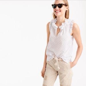 Like new! J. Crew white ruffle polka dot blouse